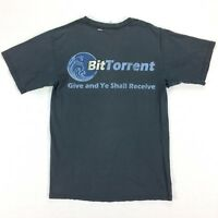 Vtg Destroyed BitTorrent T-Shirt MEDIUM Nicely Faded Black  Distressed Grunge