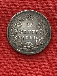 1891 25 Cents Canada Key, Date Better Grade,Cleaned Reverse