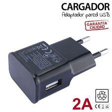 Cargador adaptador petaca pared USB 2A Negro para SAMSUNG GALAXY S7 S6 S5 S4 S3
