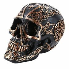 Black Gold Celtic Skull Pattern Tribal Human Collectible Home Decor