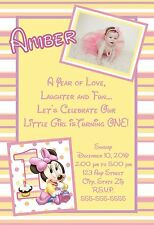 Minnie Mouse First 1st Birthday Invitations Pink 8 pk Personalized