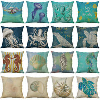 "18"" Octopus Conch Pattern Cotton Linen Pillow Case Cushion Cover Home Decor"