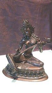 ANTIQUE SOUTH INDIA BRONZE GODDESS KRISHNA W/ MUSICAL INSTRUMENT STATUE
