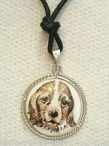 Ciondolo in ARGENTO 925 con cagnolino dipinto a mano su ceramica - girocollo