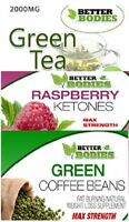 Better Bodies Raspberry Ketone 600mg Green Coffee Bean 6000mg Green Tea 2000mg