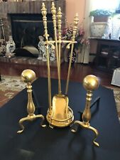 Vtg AAB R 145 Gold  Fireplace Andirons & Tool Acsessories Set Ball Top