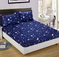 Single Queen King Mattress Fitted Sheet Protect Cotton Blend Home Blue Star