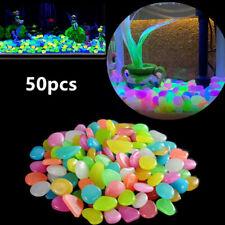50Pc Garden Decor Luminous Stones Pebbles Outdoor Fish Tank Decor Pebble Rocks*