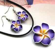 Halskette Anhänger Ohrringe Blumen Set Strass Schmuck Kunststoff #178