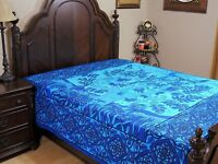Blue Tree of Life Cotton Print Bedding Indian Wall Tapestry Bed Sheet ~ Full