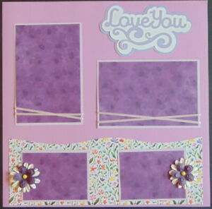 12X12 LOVE YOU PAPER PIECING PREMADE SCRAPBOOK PAGE LAYOUT - TONYA