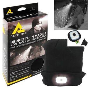 CAPPELLO BERRETTO Maglia Luce 4 LED Ricaricabile USB EMERGENZA NEVE MOTO STRADA