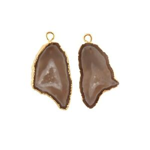 Real Geode Druzy Yellow Gold Electroplated DIY Earring Perfect Pair Connectors