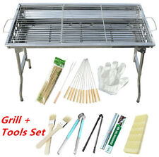 Potable Barbecue Charcoal Grill Stove BBQ Outdoor Cooker with BBQ Tools Set