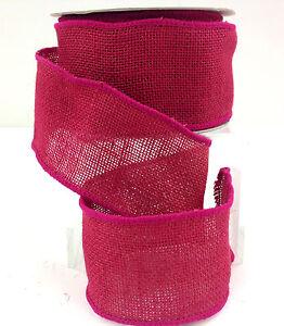 "Burlap Wired Ribbon~Fuchsia~2 1/2"" Wide x 10 yard Roll"