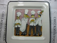 vintage Chef Pictures Square Porcelain Plate Made In Italy