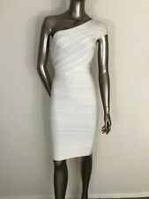 Herve Leger Authentic Imperfect Josephine White One Shoulder Dress Size XS