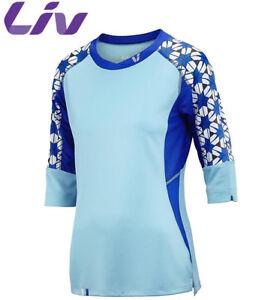 Liv Charm 3/4 Womens MTB Cycling Jersey - Aqua Blue - M L