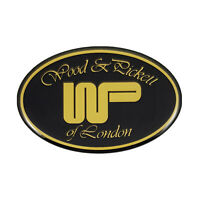 Classic Wood and Pickett Oval Gel Adhesive Badge In Black & Gold LMG9015