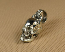 White Copper casting Hand polished Cute Skull human skull Pendant Car Keychain