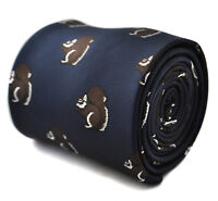 Frederick Thomas navy blue mens tie with squirrel design FT1797