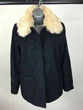 Women's Topshop Navy Wool Mix Press Stud Front Faux Fur Collar Coat Size UK 10