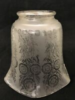 Antique Frosted / Etched Glass Oil / Gas Lamp Light Shade VTG 2-1/4 Victorian