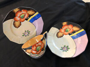 VINTAGE TEACUP AND 2 BREAD PLATES LUSTRE AND HAND-PAINTED JAPAN VGC