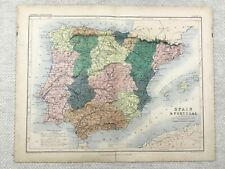 1866 Antique Map of Spain and Portugal Old 19th Century Original