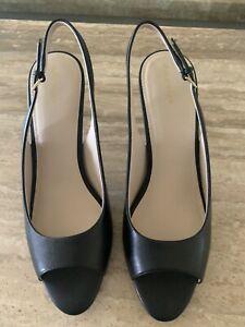 cole haan 11 Womens Black Leather Opem Toe Sling Back Heels