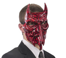 Red Devil Masquerade Mask Crackled Effect Venetian Halloween Male Masked Ball