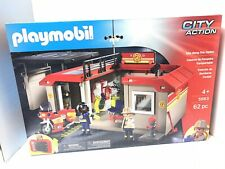 NIB Playmobil City Action 5663 Take Along Fire Station 62pc Include Firefighters
