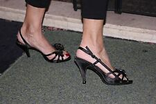 sunrise c sexy high heel strappy sandals size 5  black with silver diamante