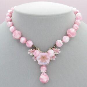 Vtg Signed Miriam Haskell Pink Poured Art Glass Flower Cluster Dangle Necklace