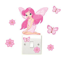 Fairy Flower & Butterfly Light Switch 8pc Wall Stickers Children's Girls Bedroom