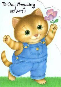 Happy Birthday Aunt Kitty Kitten Cat Cats Theme Hallmark Greeting Card