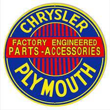 "Chrysler Plymouth Parts Reproduction Gas Station Sign 14""x14"" Round"