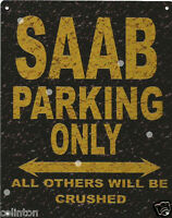 SAAB PARKING METAL SIGN RUSTIC VINTAGE STYLE6x8in 20x15cm garageART