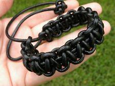 Bracelet black genuine leather adjustable  knot sliding wristband bracelet