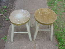 New listing 2 Vintage Round Wood Wooden Stools Plant Stand Repurpose asis You Restore
