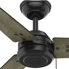 """52"""" Industrial Damp Rated Outdoor Ceiling Fan Black Grey Rustic Patio Deck Porch"""