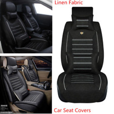 Car Seat Cover Breathable Linen Fabric Universal Front & Rear Supports Protector