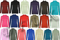 WOMENS PLAIN LONG SLEEVE TURTLE POLO ROLL NECK TOP CASUAL JUMPER SIZE S/M , M/L