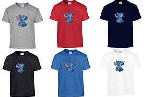 Disney Heart Lilo and Stitch Ohana Xmas Gift Kids Men Women Top Unisex T Shirt