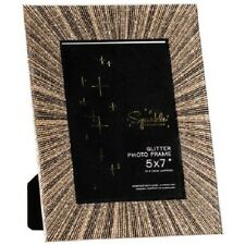"Glitter Glass Photo Frame 5 x 7"" Gold Starburst  Sparkle Collection"