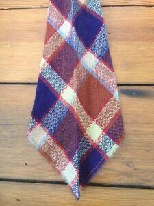 Vintage 100% Wool Tartan Madras Blue Red Plaid Cravat Tie Ascot