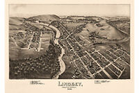 Lindsey, Jefferson County, Pennsylvania. Antique Birdseye Map; 1895