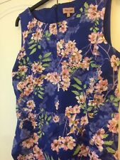 Phase Eight Blue/Pink floral Stretch,Panelled,Lined,Dress size 14 VGC
