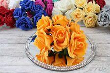 1 Bunch Colourfast Foam Rose Bouquet Wedding Artificial 6 Flowers 35 Colours 5cm Orange