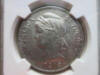 PORTUGAL 1 Escudo 1915 NGC AU 58 UNC Silver crown